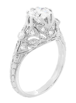 Edwardian Antique Style 1 Carat Diamond T.W. Filigree Engagement Ring in 18 Karat White Gold