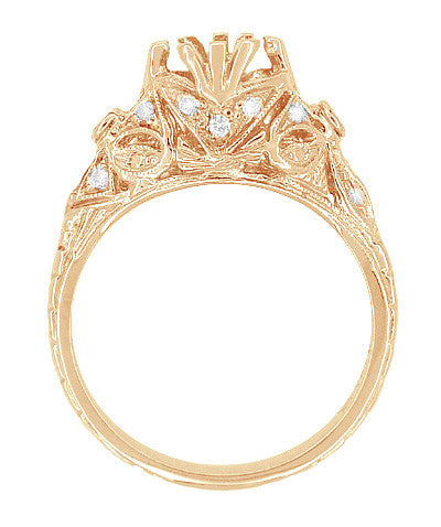 Antique Style Filigree Edwardian Engagement Ring Semimount for a 1.00 to 1.30 Carat Diamond in 14 Karat Rose ( Pink ) Gold - Item: R6791R - Image: 3