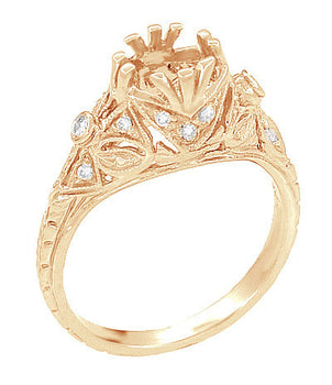 Antique Style Filigree Edwardian Engagement Ring Semimount for a 1.00 to 1.30 Carat Diamond in 14 Karat Rose ( Pink ) Gold