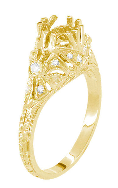 Edwardian Yellow Gold Antique Style 1.00 to 1.30 Carat Filigree Engagement Ring Mounting | 6.3 - 7.3mm - Item: R6791Y - Image: 3
