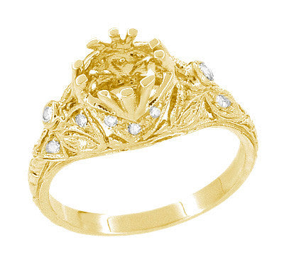 Edwardian Yellow Gold Antique Style 1.00 to 1.30 Carat Filigree Engagement Ring Mounting | 6.3 - 7.3mm - Item: R6791Y - Image: 4