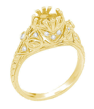 Edwardian Yellow Gold Antique Style 1.00 to 1.30 Carat Filigree Engagement Ring Mounting | 6.3 - 7.3mm - Item: R6791Y - Image: 1