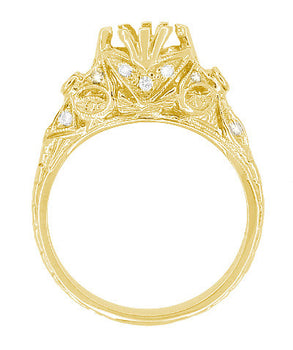 Edwardian Antique Style 1 Carat Filigree Engagement Ring Mounting in 18 Karat Yellow Gold | 6.5mm