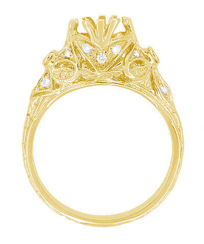 Edwardian Yellow Gold Antique Style 1.00 to 1.30 Carat Filigree Engagement Ring Mounting | 6.3 - 7.3mm