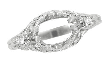 Edwardian Antique Style 3/4 Carat Filigree Platinum Engagement Ring Mounting for a 6mm Round Stone - Item: R679P - Image: 5