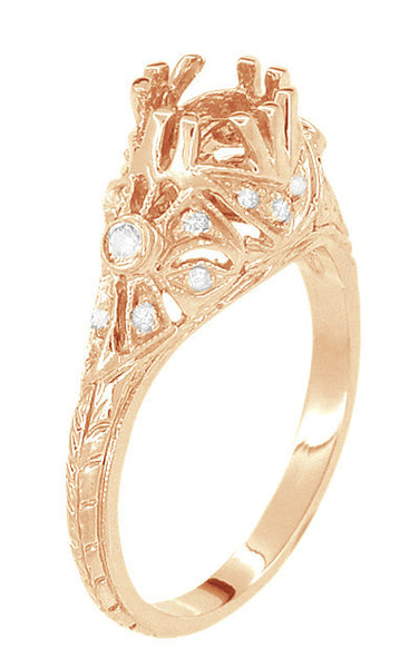 Edwardian Antique Style 3/4 Carat Filigree Engagement Ring Mounting in 14 Karat Rose ( Pink ) Gold - Item: R679R - Image: 3
