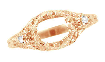 Edwardian Antique Style 3/4 Carat Filigree Engagement Ring Mounting in 14 Karat Rose ( Pink ) Gold - Item: R679R - Image: 5