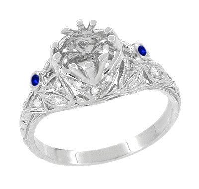 Edwardian Engagement Ring Setting with Side Blue Sapphires and Diamonds in 18 Karat White Gold - Item: R679WS - Image: 2