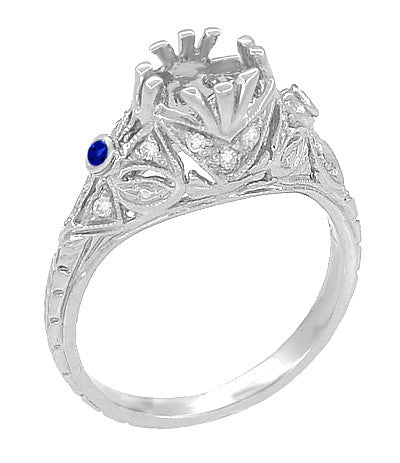 Edwardian Engagement Ring Setting with Side Blue Sapphires and Diamonds in 18 Karat White Gold - Item: R679WS - Image: 1