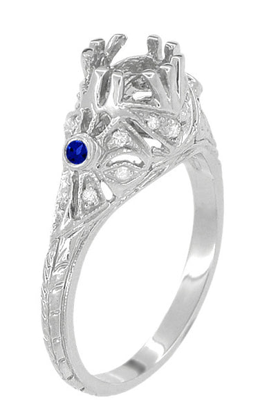 Edwardian Engagement Ring Setting with Side Blue Sapphires and Diamonds in 18 Karat White Gold