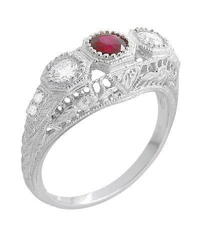 "Filigree ""Three Stone"" Edwardian Ruby and Diamond Engagement Ring in Platinum - Item: R682PR - Image: 1"