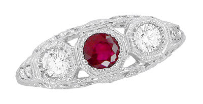 "Filigree ""Three Stone"" Edwardian Ruby and Diamond Engagement Ring in Platinum - Item: R682PR - Image: 4"