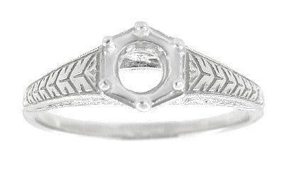 Art Deco Scrolls and Wheat Filigree Engagement Ring Setting for a 3/4 Carat Diamond in 18 Karat White Gold - Item: R688 - Image: 2