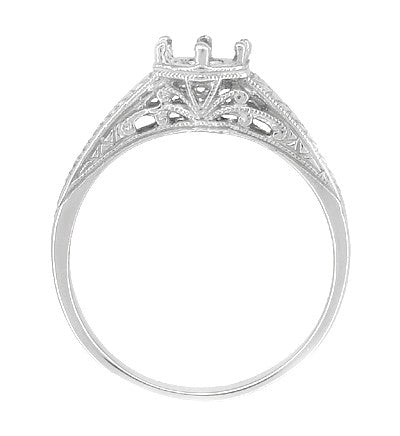 Art Deco Scrolls and Wheat Filigree Engagement Ring Setting for a 3/4 Carat Diamond in 18 Karat White Gold - Item: R688 - Image: 1
