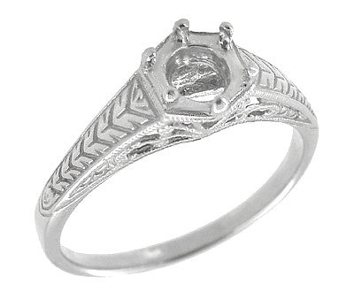 Art Deco Scrolls and Wheat Filigree Engagement Ring Setting for a 3/4 Carat Diamond in Platinum