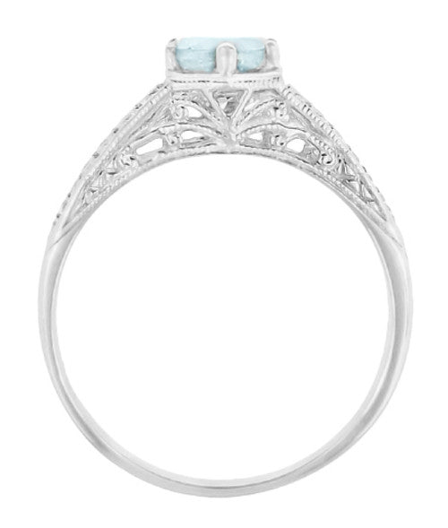 Art Deco Scrolls and Wheat Aquamarine Solitaire Filigree Engraved Engagement Ring in Platinum - Item: R688PA - Image: 2
