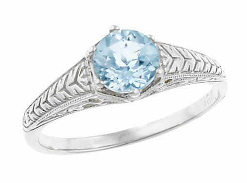 Art Deco Scrolls and Wheat Aquamarine Solitaire Filigree Engraved Engagement Ring in Platinum - Item: R688PA - Image: 1