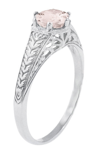 Art Deco Scrolls and Wheat Morganite Solitaire Filigree Engraved Engagement Ring in Platinum - Item: R688PM - Image: 1