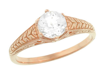 Rose Gold Art Deco Scrolls and Wheat White Sapphire Solitaire Filigree Engraved Engagement Ring