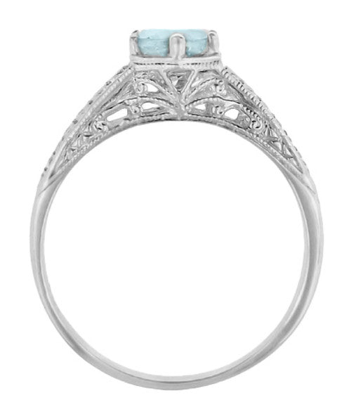 Art Deco Engraved Scrolls and Wheat Aquamarine Solitaire Engagement Ring in 18 Karat White Gold | 1920's Vintage Design - Item: R688WA - Image: 2