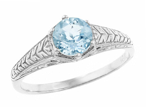 Art Deco Engraved Scrolls and Wheat Aquamarine Solitaire Engagement Ring in 18 Karat White Gold | 1920's Vintage Design