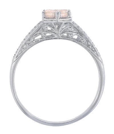 Art Deco Scrolls and Wheat Morganite Solitaire Filigree Engraved Engagement Ring in 18 Karat White Gold - Item: R688WM - Image: 2