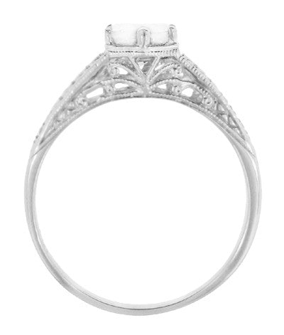Art Deco Scrolls and Wheat White Sapphire Solitaire Filigree Engraved Engagement Ring in 18 Karat White Gold - Item: R688WWS - Image: 2