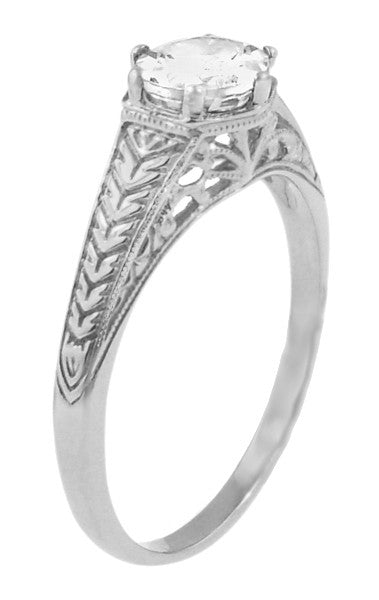 Art Deco Scrolls and Wheat White Sapphire Solitaire Filigree Engraved Engagement Ring in 18 Karat White Gold - Item: R688WWS - Image: 1