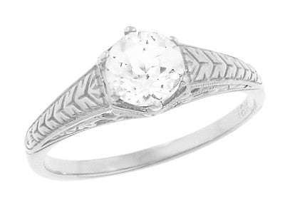 Art Deco Scrolls and Wheat White Sapphire Solitaire Filigree Engraved Engagement Ring in 18 Karat White Gold