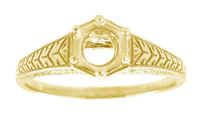 Art Deco Scrolls and Wheat Filigree Engagement Ring Setting for a 3/4 Carat Diamond in 18 Karat Yellow Gold - Item: R688Y - Image: 2