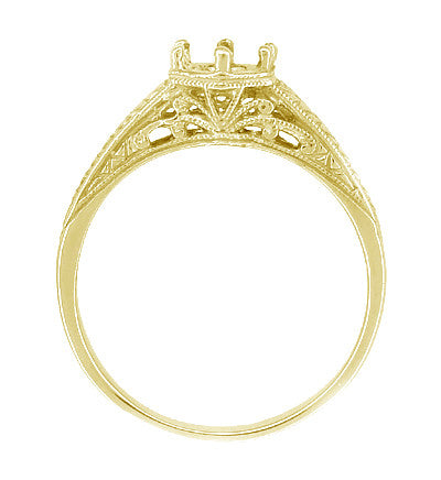 Art Deco Scrolls and Wheat Filigree Engagement Ring Setting for a 3/4 Carat Diamond in 18 Karat Yellow Gold - Item: R688Y - Image: 1