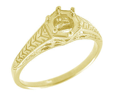 Art Deco Scrolls and Wheat Filigree Engagement Ring Setting for a 3/4 Carat Diamond in 18 Karat Yellow Gold