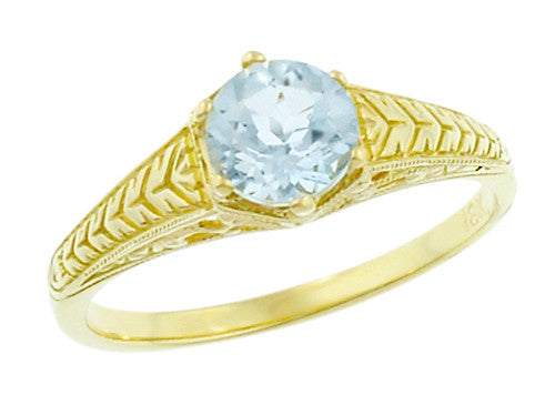 Art Deco Scrolls and Engraved Wheat Aquamarine Solitaire Filigree Engagement Ring in 18 Karat Yellow Gold