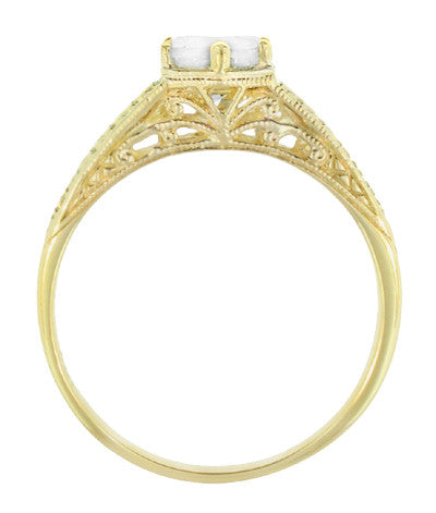 Art Deco Carved Wheat and Scrolls White Sapphire Solitaire Filigree Engraved Engagement Ring in 18K Yellow Gold - Item: R688YWS - Image: 2