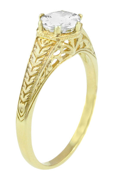 Art Deco Carved Wheat and Scrolls White Sapphire Solitaire Filigree Engraved Engagement Ring in 18K Yellow Gold - Item: R688YWS - Image: 1