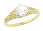 Art Deco Carved Wheat and Scrolls White Sapphire Solitaire Filigree Engraved Engagement Ring in 18K Yellow Gold