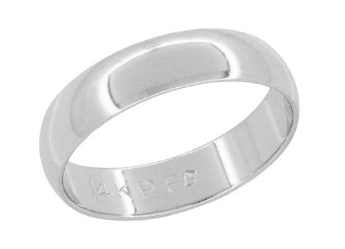 4mm Half Round Vintage Wedding Band in 14K White Gold - Size 5