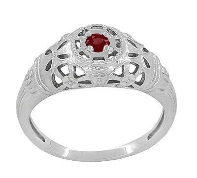 Art Deco Filigree Ruby Ring in 14 Karat White Gold - Item: R698 - Image: 2