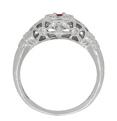Art Deco Filigree Ruby Ring in 14 Karat White Gold - Item: R698 - Image: 3