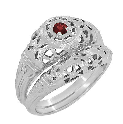 Art Deco Filigree Ruby Ring in 14 Karat White Gold - Item: R698 - Image: 4