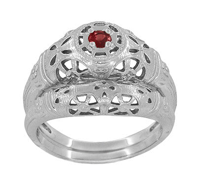 Art Deco Filigree Ruby Ring in 14 Karat White Gold - Item: R698 - Image: 5