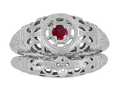 Art Deco Filigree Ruby Ring in 14 Karat White Gold - Item: R698 - Image: 6
