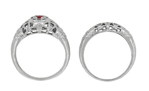 Art Deco Filigree Ruby Ring in 14 Karat White Gold - Item: R698 - Image: 7