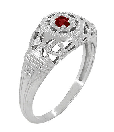 Art Deco Filigree Ruby Ring in 14 Karat White Gold - Item: R698 - Image: 1