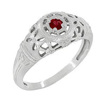 Art Deco Filigree Ruby Ring in 14 Karat White Gold