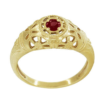 Art Deco Filigree Ruby Ring in 14 Karat Yellow Gold - Item: R698Y - Image: 2