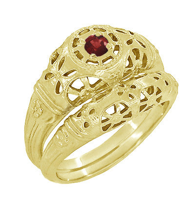 Art Deco Filigree Ruby Ring in 14 Karat Yellow Gold - Item: R698Y - Image: 4