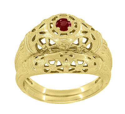 Art Deco Filigree Ruby Ring in 14 Karat Yellow Gold - Item: R698Y - Image: 5