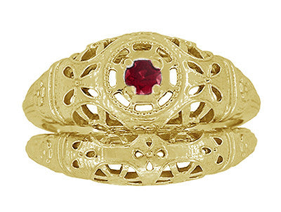 Art Deco Filigree Ruby Ring in 14 Karat Yellow Gold - Item: R698Y - Image: 6