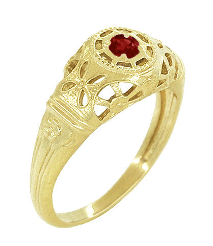 Art Deco Filigree Ruby Ring in 14 Karat Yellow Gold - Item: R698Y - Image: 1